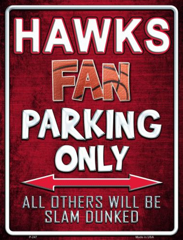 Hawks Metal Novelty Parking Sign