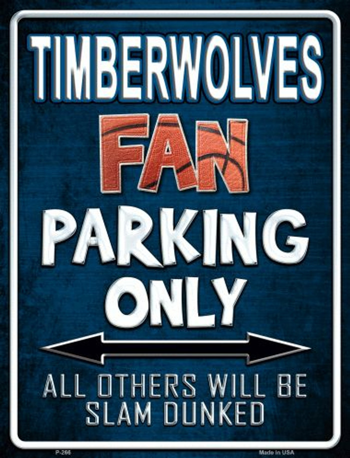 Timberwolves Metal Novelty Parking Sign