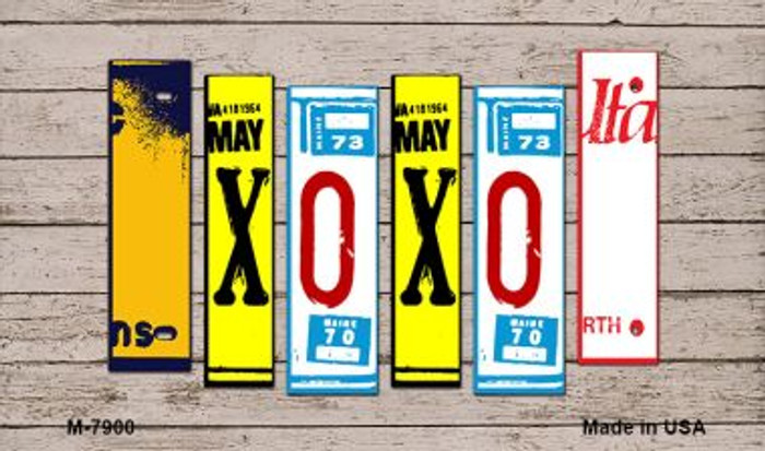 XOXO Wood License Plate Art Novelty Metal Magnet