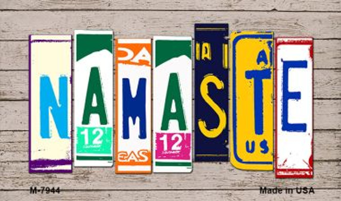 Namaste Wood License Plate Art Novelty Metal Magnet