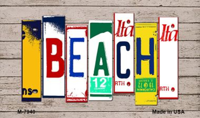 Beach Wood License Plate Art Novelty Metal Magnet