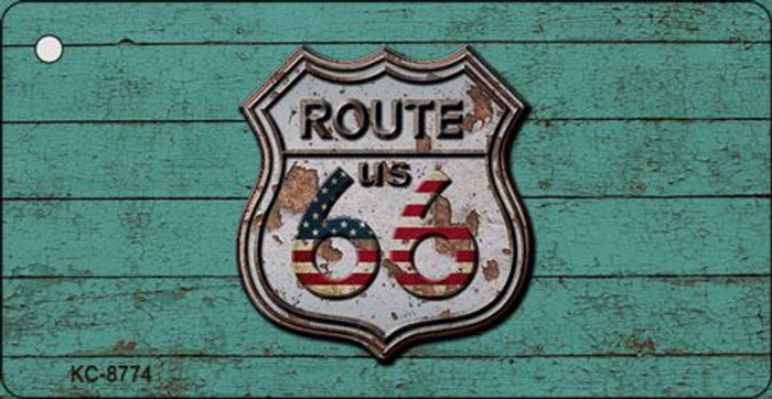 Route 66 Rusty On Wood Novelty Metal Key Chain