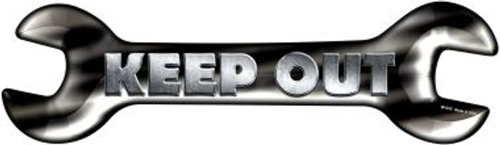 Keep Out Novelty Metal Wrench Sign