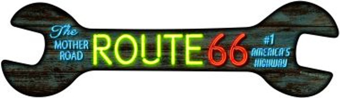 Neon Route 66 Novelty Metal Wrench Sign