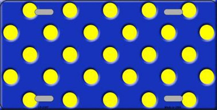 Yellow Polka Dots Royal Blue Metal Novelty License Plate