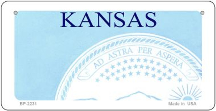 Kansas Novelty State Background Bicycle License Plate