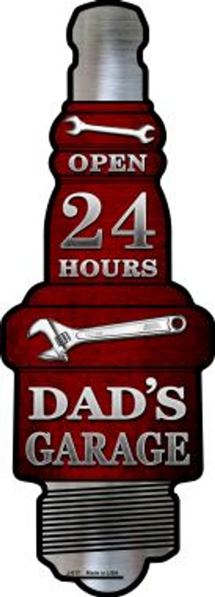 Dads Garage Novelty Metal Spark Plug Sign J-017