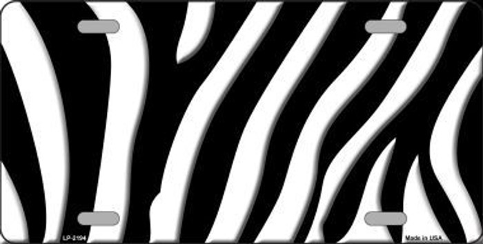 Black White Zebra Print Metal Novelty License Plate