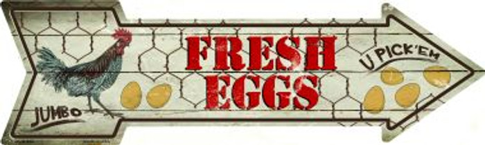 Fresh Eggs Novelty Metal Arrow Sign
