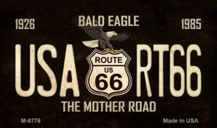 Bald Eagle Route 66 Novelty Metal Magnet