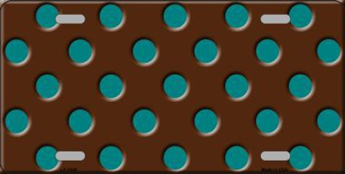 Teal Polka Dots Brown Metal Novelty License Plate