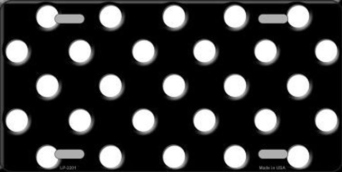 White Polka Dots Black Metal Novelty License Plate