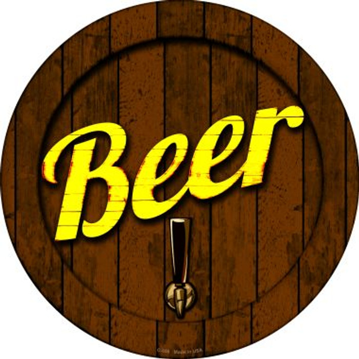 Beer Keg Tap Novelty Metal Circular Sign C-658