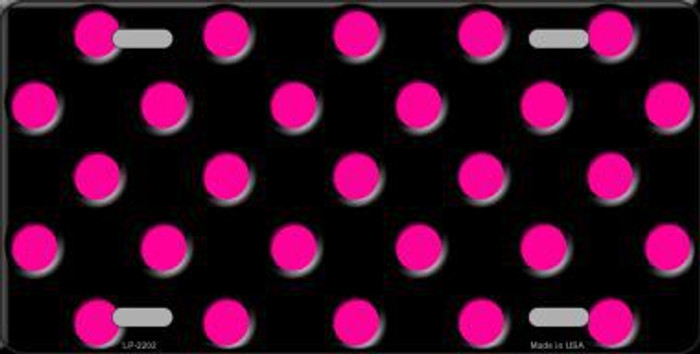 Hot Pink Polka Dots Black Metal Novelty License Plate