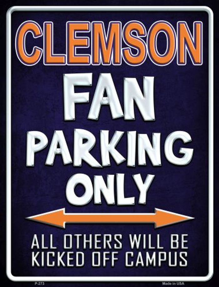 Clemson Metal Novelty Parking Sign