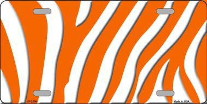 Orange White Zebra Print Metal Novelty License Plate
