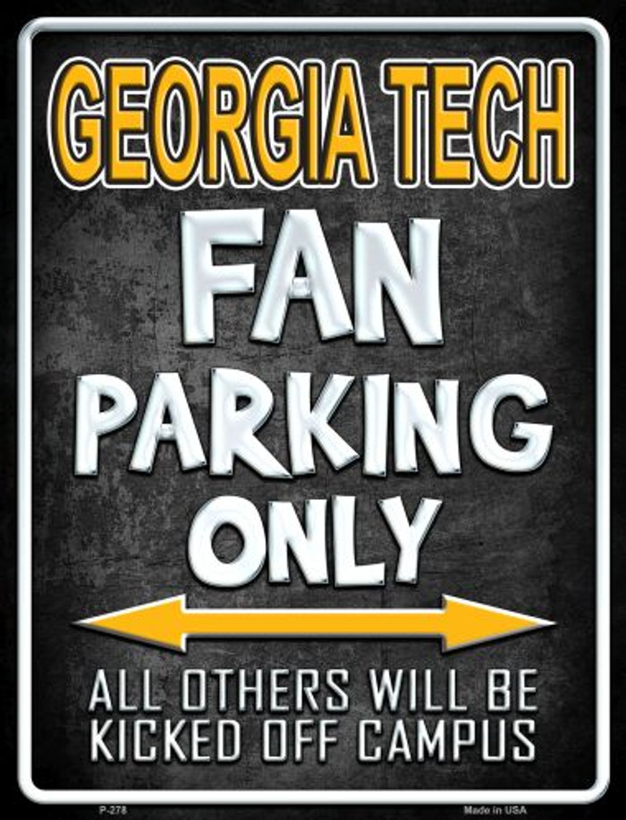 Georgia Tech Metal Novelty Parking Sign