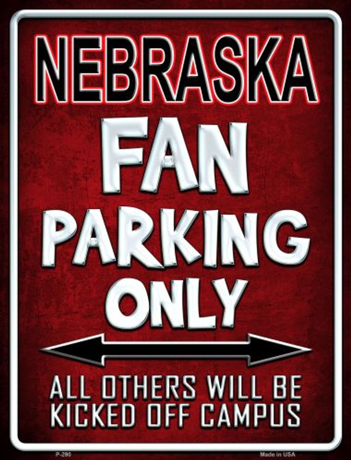 Nebraska Metal Novelty Parking Sign