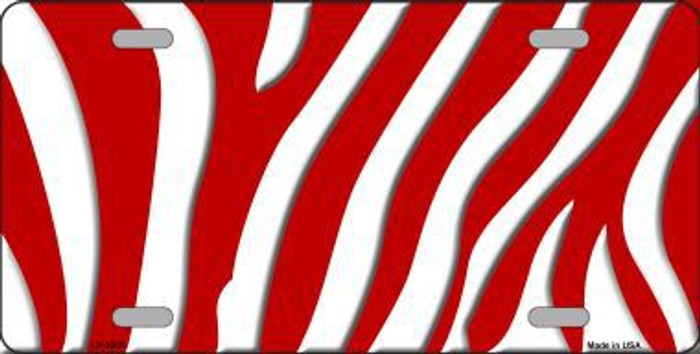 Red White Zebra Print Metal Novelty License Plate