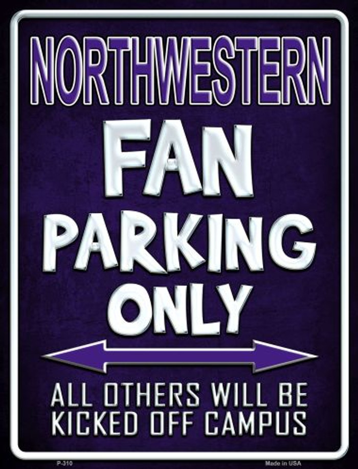 Northwestern Metal Novelty Parking Sign