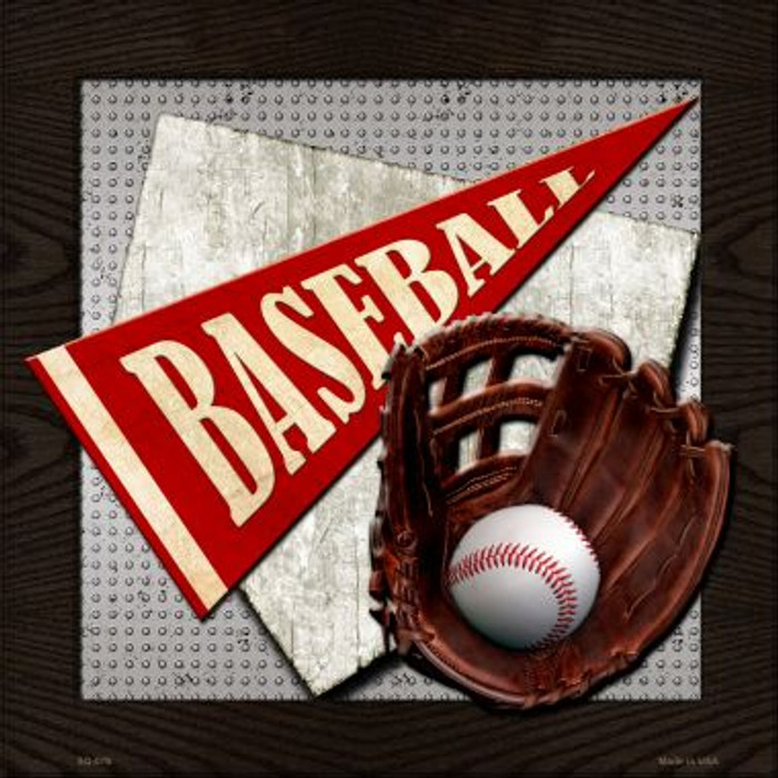 Baseball Novelty Metal Square Sign