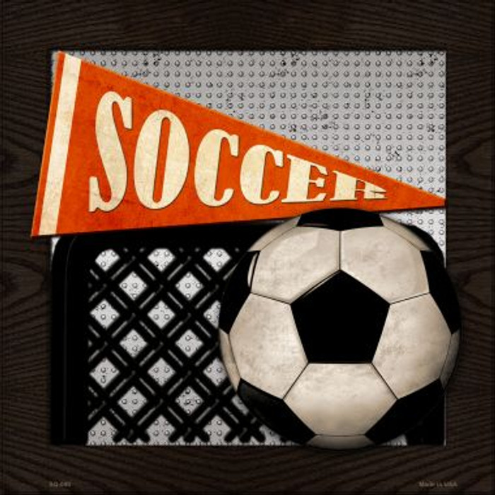 Soccer Novelty Metal Square Sign