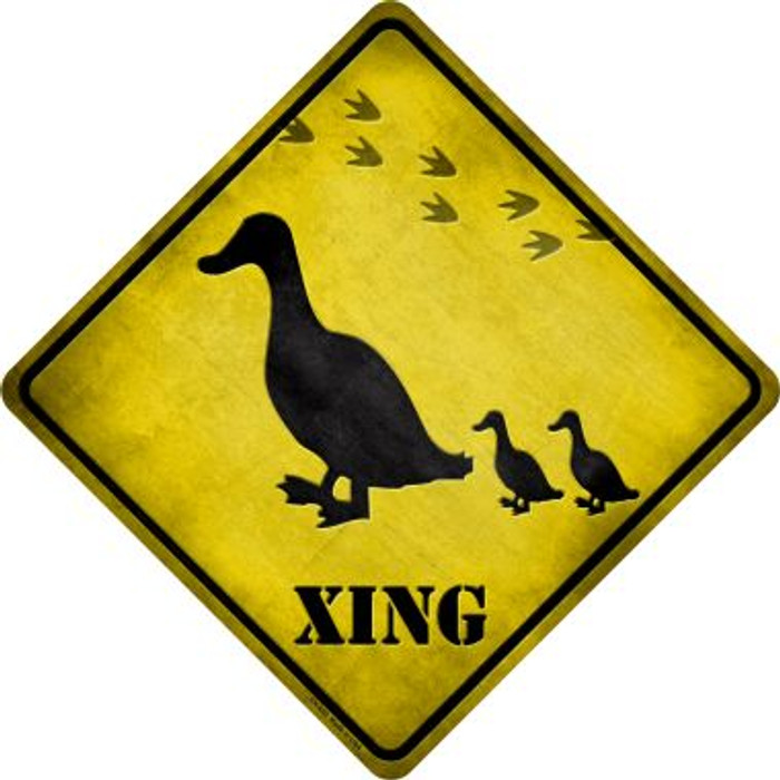 Ducks Xing Novelty Metal Crossing Sign