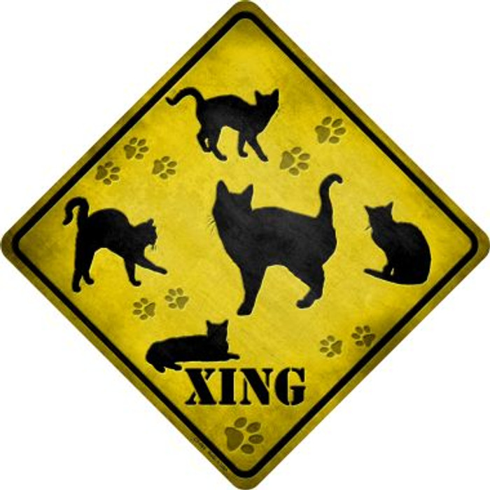 Cats Xing Novelty Metal Crossing Sign
