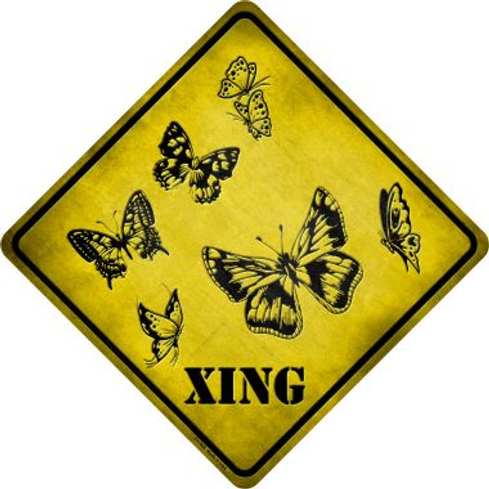 Butterflies Xing Novelty Metal Crossing Sign