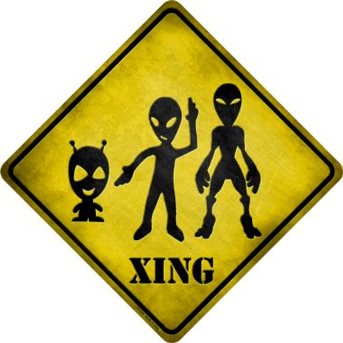 Aliens Xing Novelty Metal Crossing Sign