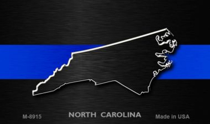 North Carolina Thin Blue Line Novelty Metal Magnet