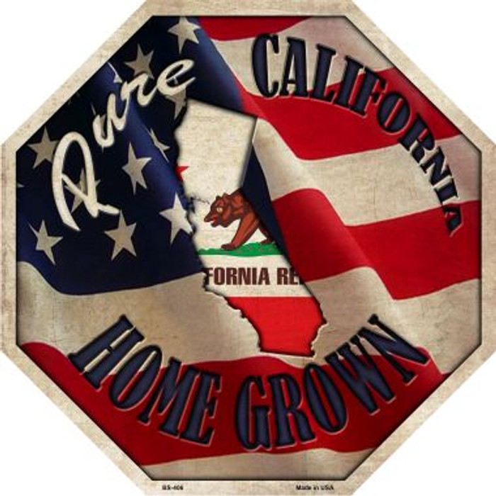 California Home Grown Metal Novelty Stop Sign