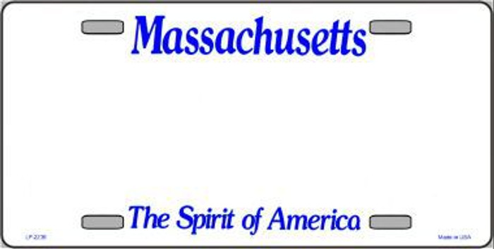 Massachusetts Novelty State Background Blank Metal License Plate