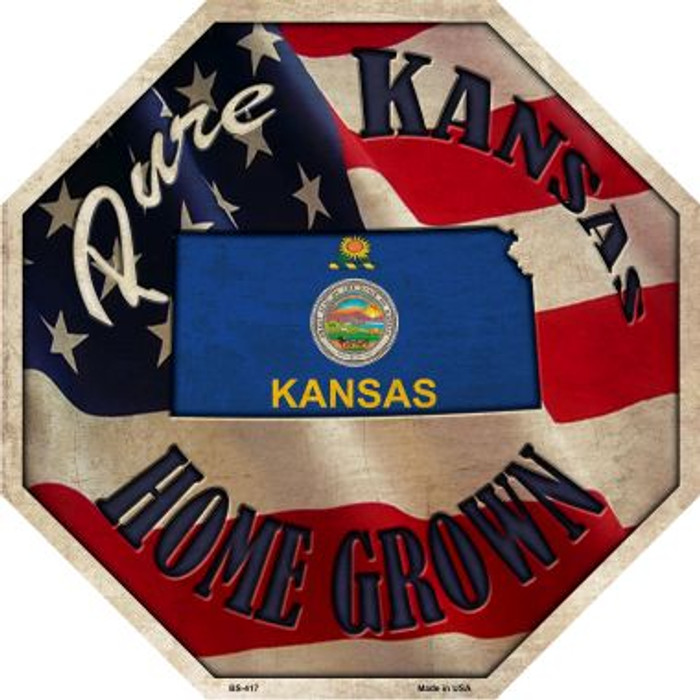 Kansas Home Grown Metal Novelty Stop Sign BS-417