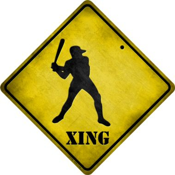 Baseball Xing Novelty Metal Crossing Sign