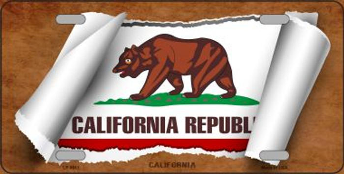 California Flag Scroll Novelty Metal License Plate