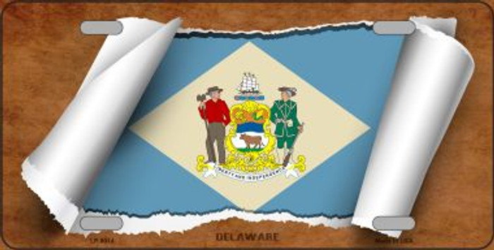 Delaware Flag Scroll Novelty Metal License Plate