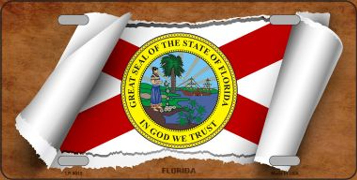 Florida Flag Scroll Novelty Metal License Plate