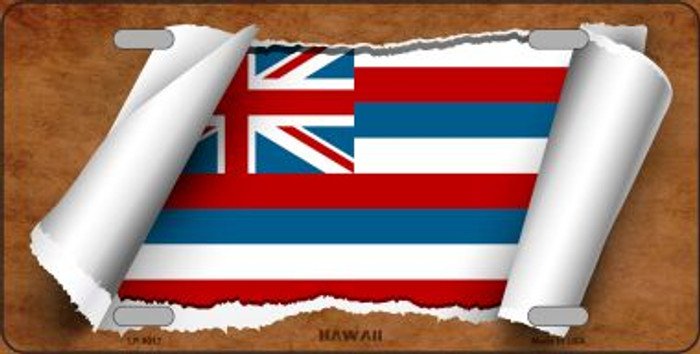 Hawaii Flag Scroll Novelty Metal License Plate