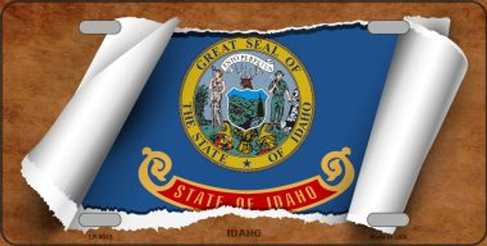Idaho Flag Scroll Novelty Metal License Plate