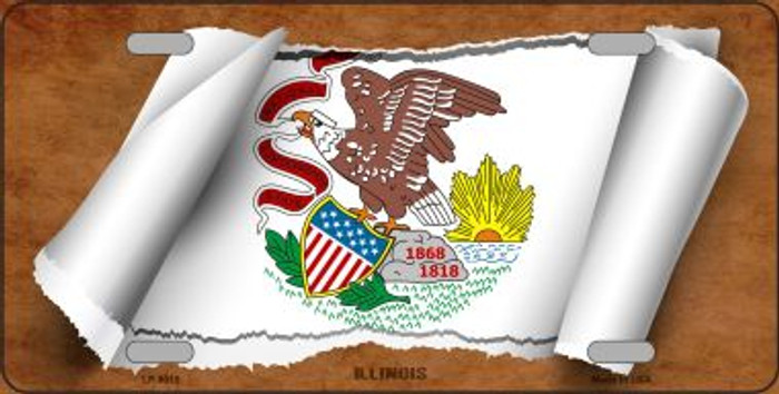Illinois Flag Scroll Novelty Metal License Plate