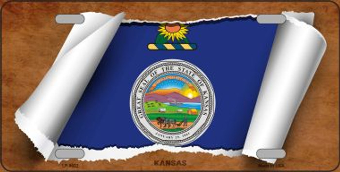 Kansas Flag Scroll Novelty Metal License Plate