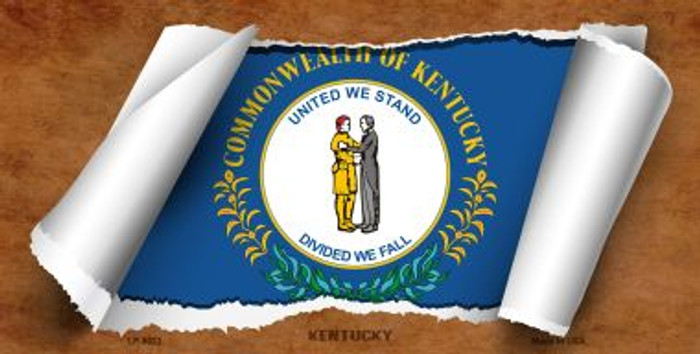 Kentucky Flag Scroll Novelty Metal License Plate