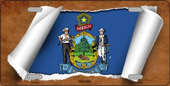 Maine Flag Scroll Novelty Metal License Plate