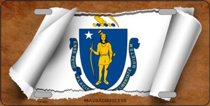 Massachusetts Flag Scroll Novelty Metal License Plate