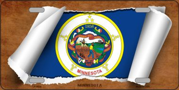 Minnesota Flag Scroll Novelty Metal License Plate