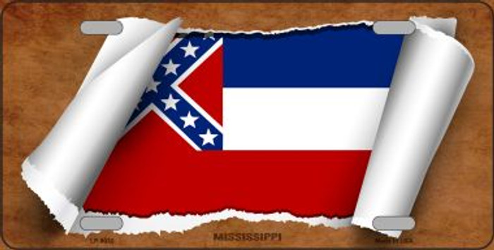 Mississippi Flag Scroll Novelty Metal License Plate