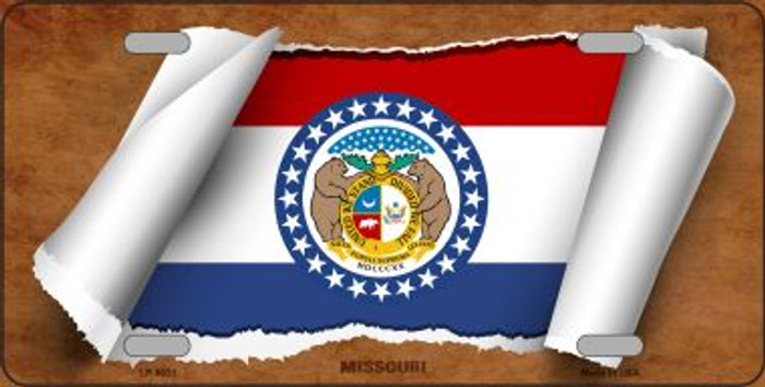 Missouri Flag Scroll Novelty Metal License Plate