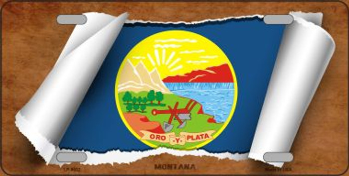 Montana Flag Scroll Novelty Metal License Plate