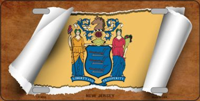 New Jersey Flag Scroll Novelty Metal License Plate